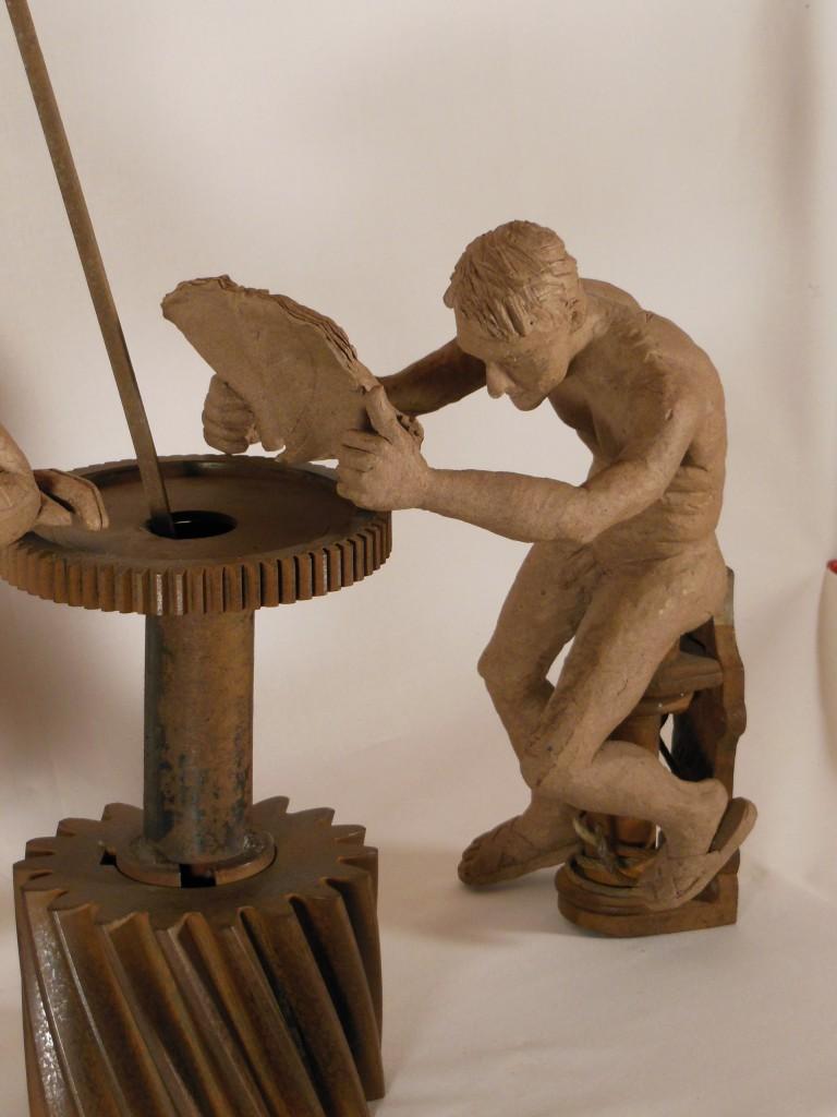 sculpture couple. Terre et métal