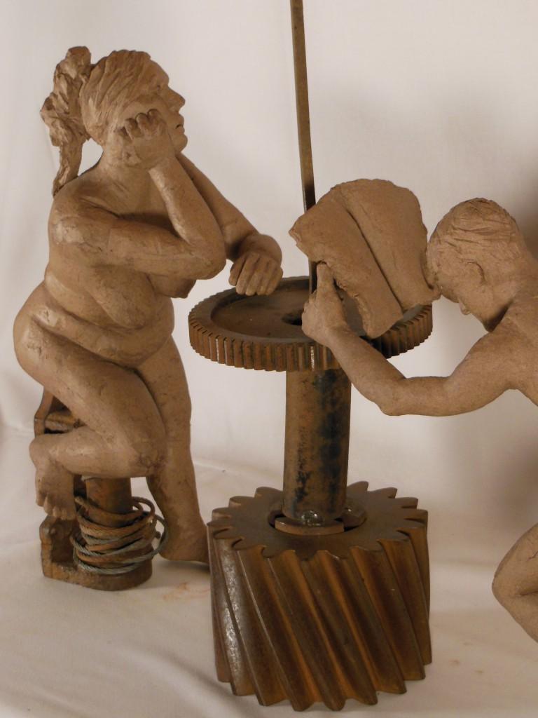 sculpture couple.Terre cuite et métal