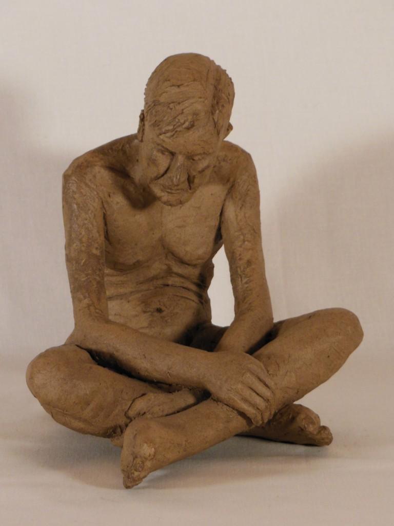 sculpture homme assis. Terre cuite