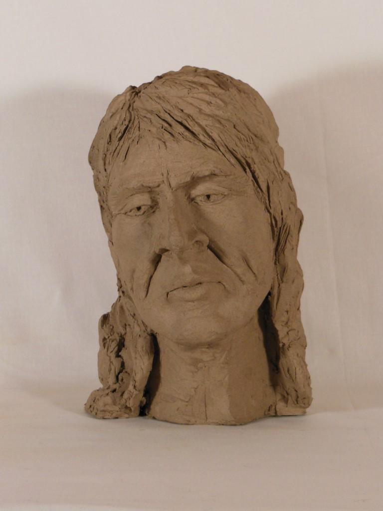 sculpture tête d'homme en terre cuite