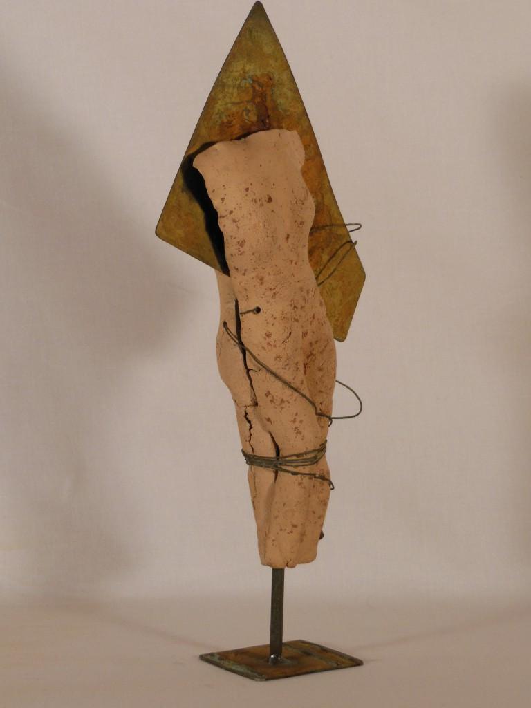 sculpture terre cuite et métal