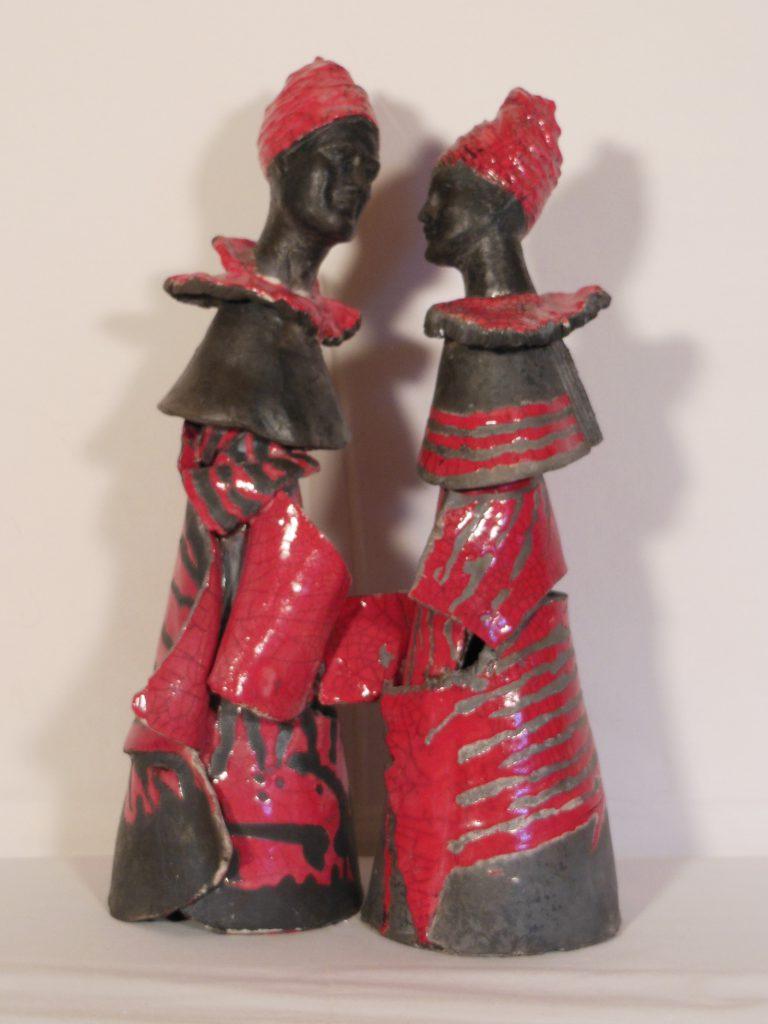Couple en raku noir et rouge -