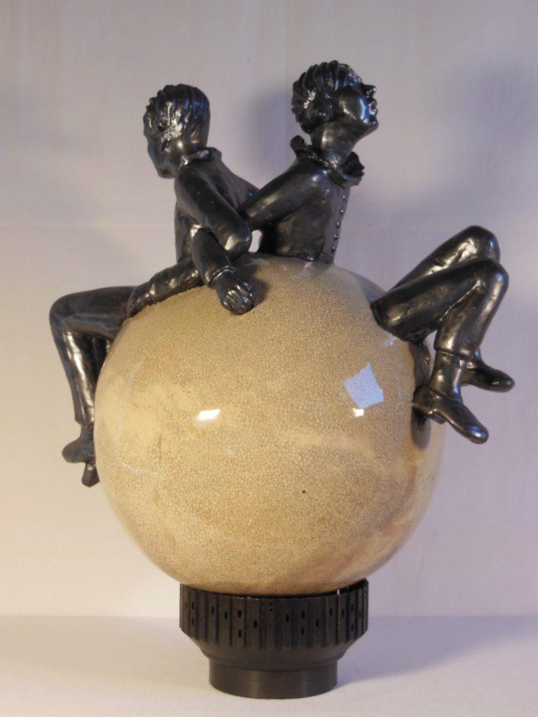 sphère émaillée sur métal